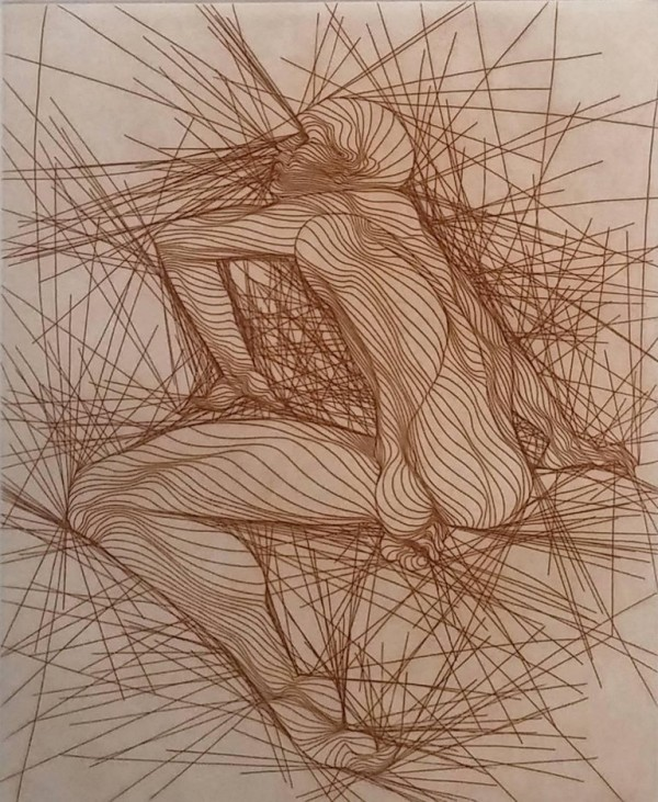 """GUILLAUME AZOULAY """"Um Homme Assis"""" etching"""