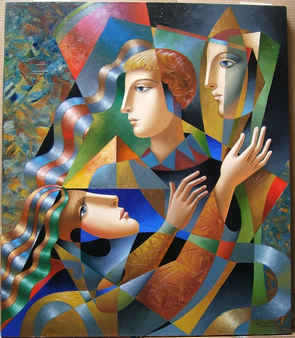 """""""Three Faces"""" Original Oil on Canvas by Oleg Zhivetin"""