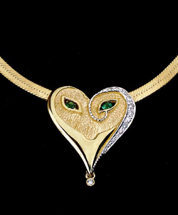 """Emerald Eyes"" 18K Gold With Diamonds and Enamel Mask Pendant by Erte"