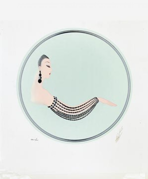 """""""Onyx Sleeve"""" Estate-Signed Embossed Serigraph with Foil Stamping by Erte"""