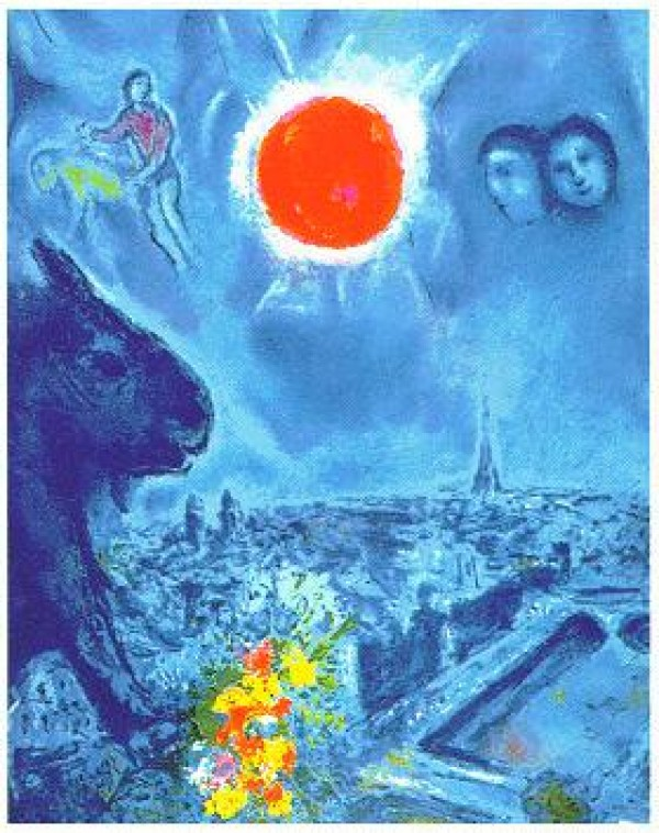 """""""The Sun Over Paris"""" Plate-Signed Lithograph by Marc Chagall"""