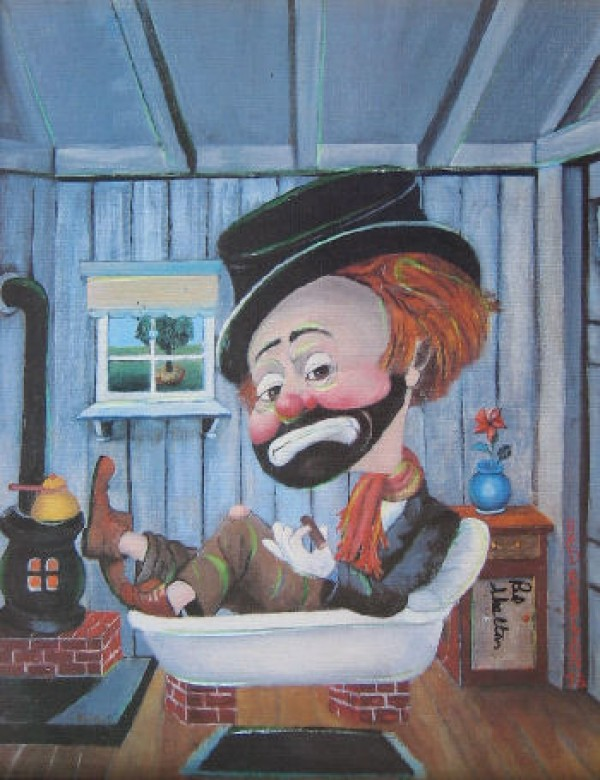 """Freddie In The Tub"" Serigraph by Red Skelton"