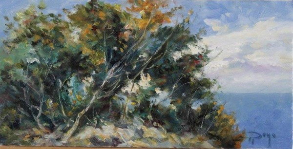 """""""Pinos y Mar"""" Original Oil on Canvas by Royo"""