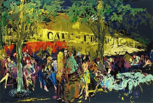 """""""Cafe de Flore de Nuit"""" Serigraph by Leroy Neiman"""
