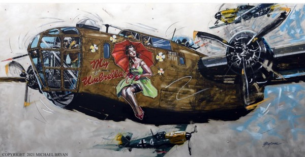 """My (flack) Umbrella"" B-24 Liberator, Limited Edition Giclee on Paper, Canvas or Aluminum by Michael Bryan"