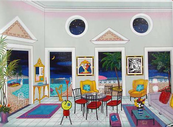 """""""Interior with Two Picassos"""" Lithograph by Fanch Ledan"""