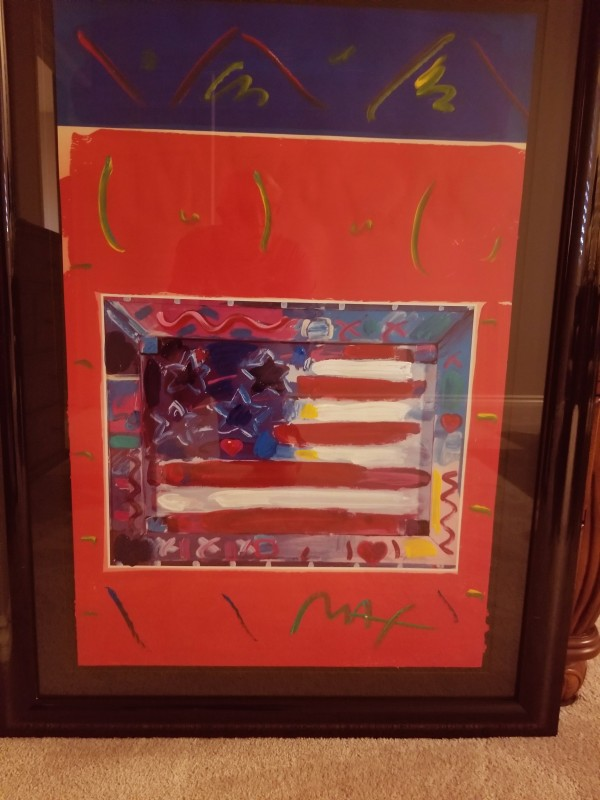 """Flag with Heart, Leningrad No.3"" Original Mixed Media Acrylic on Lithograph by Peter Max"