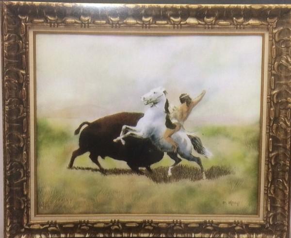 """Indian Brave Versus Buffalo"" Original Enamel on Copper by Max Karp"