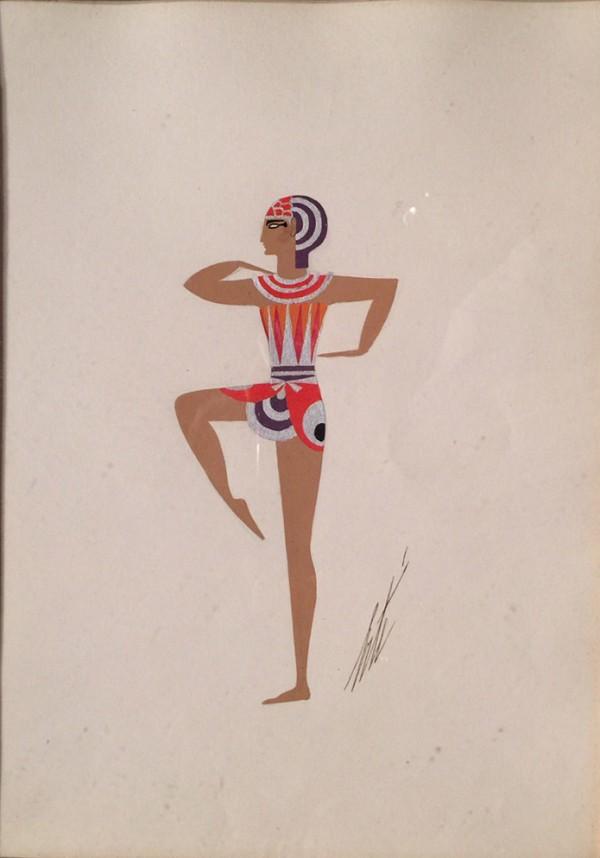 """Costume Egyptien"" November 1934 Original Gouache by Erte"