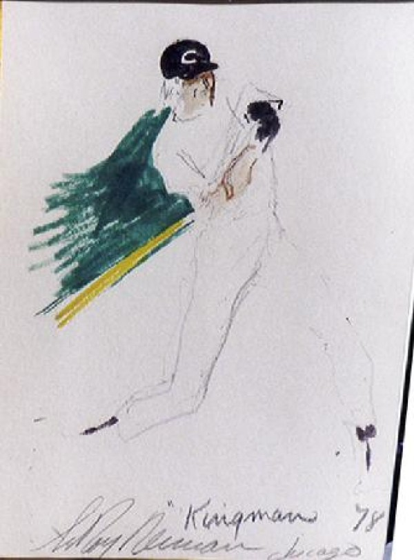 """""""Dave Kingman"""" Chicago '78 Original Pen on Paper drawing by LeRoy Neiman"""