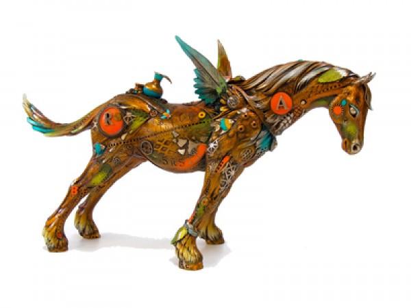 """""""Arthur the Believer """" bronze sculpture by Nano Lopez"""