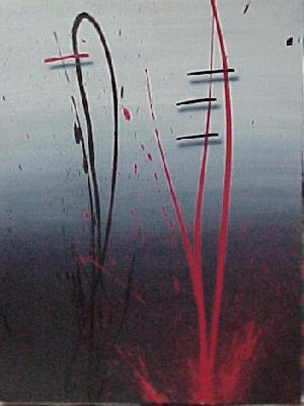 """Night on Water's Edge"" Original Acrylic on Paper by Mark Erickson"