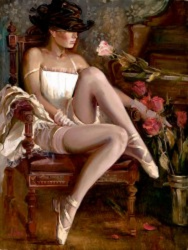 """""""Intermission"""" Hand Embellished Giclee on Hand Textured Canvas by Irene Sheri"""