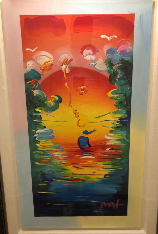 """""""Better World"""" Unique Mixed Media Acrylic Painting on Color Serigraph on Paper by Peter Max"""
