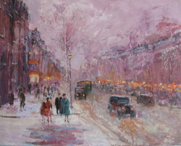 On Boulevard 1930 original acrylic on canvas by Slobodan Paunovic