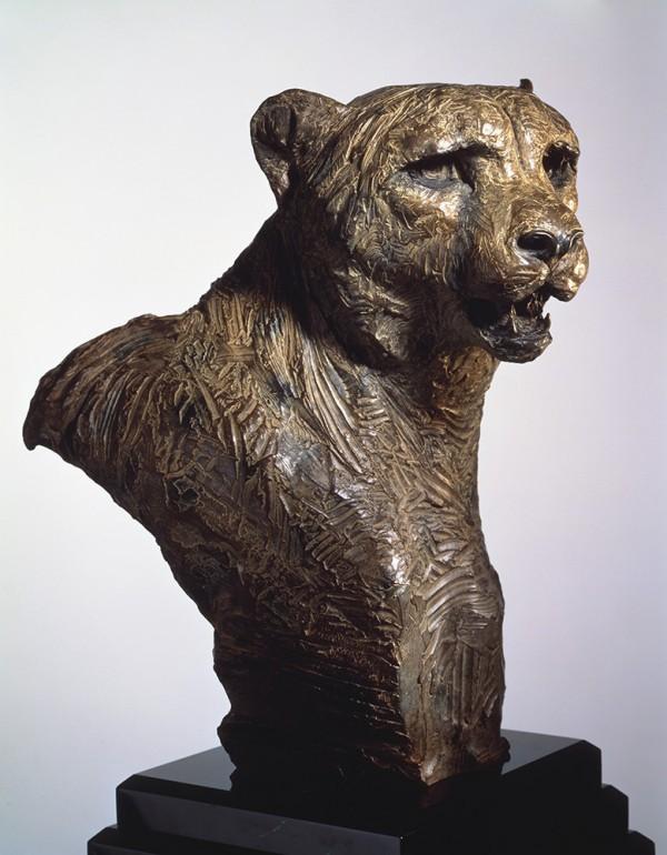 """""""Cheetah, Bust"""" Bronze Sculpture by Richard MacDonald"""