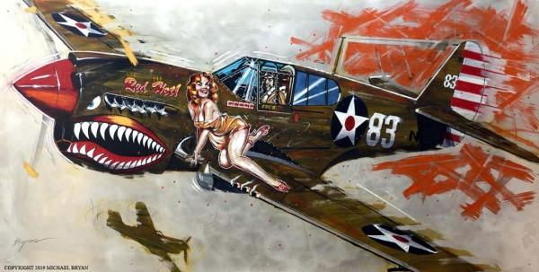 """Red Hot"" Kittyhawk MK1 Original Mixed Media on Hand-Worked Aluminum by Michael Bryan"