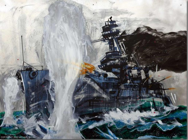 """""""Dreadnaught"""" Original Hand-Worked Mixed Media on Aluminum by Michael Bryan"""