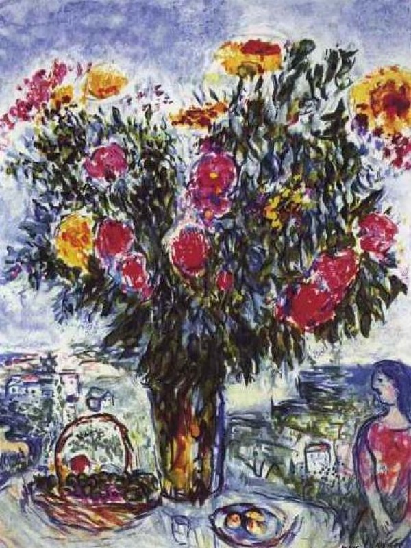 """""""Le Grand Bouquet"""" Estate-Signed Lithograph by Marc Chagall"""