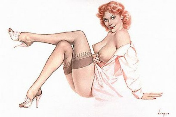 """Legacy Nude #1, """"Silk Stockings"""" Lithograph/Arches by Alberto Vargas"""