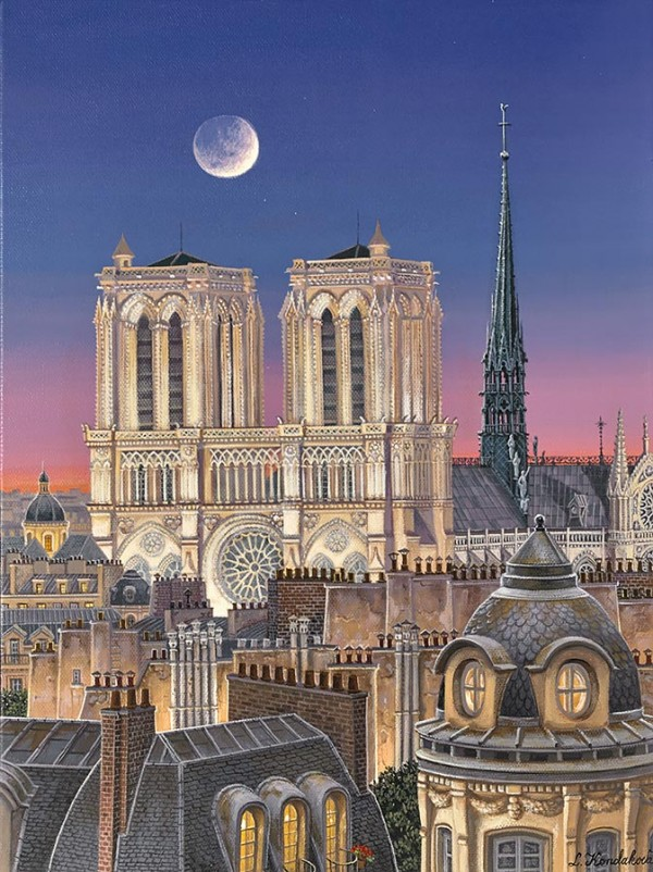 """""""Paris Rooftops with Notre Dame"""" hand-signed archival print on canvas by Liudmila Kondakova"""