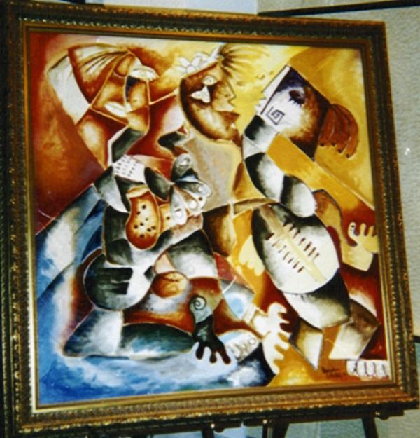 """Columbian Rhythms"" Original Acrylic on Canvas by Alexandra Nechita"