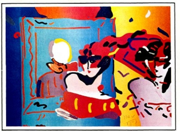 """""""Lady With Degas"""" Lithograph by Peter Max from the Ladies of the 80's Suite"""