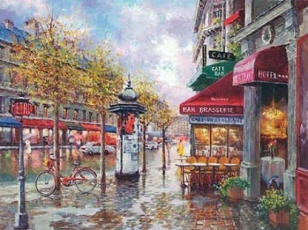 """Rainy Day In Paris"" Original Oil on Canvas by Sam Park"