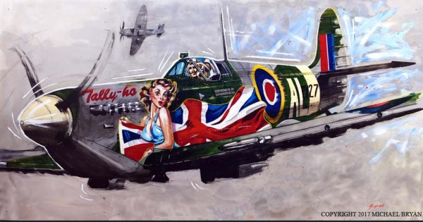 """Tally-Ho"" Spitfire Giclee on Canvas or Aluminum by Michael Bryan"