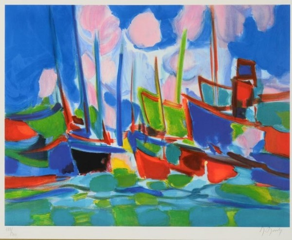 """Marine aux Nuages"" Lithograph by Marcel Mouly"