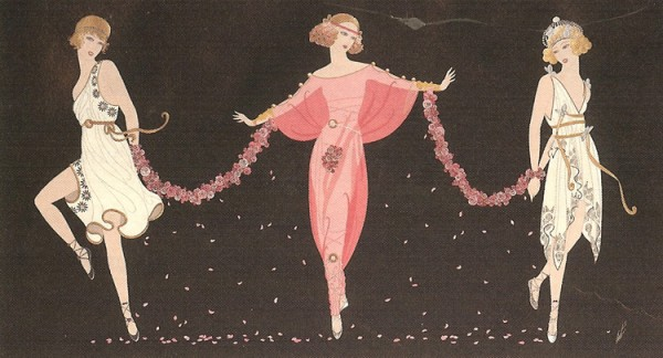 """""""Printemps"""" Estate-Signed Embossed Serigraph with Foil Stamping by Erte"""