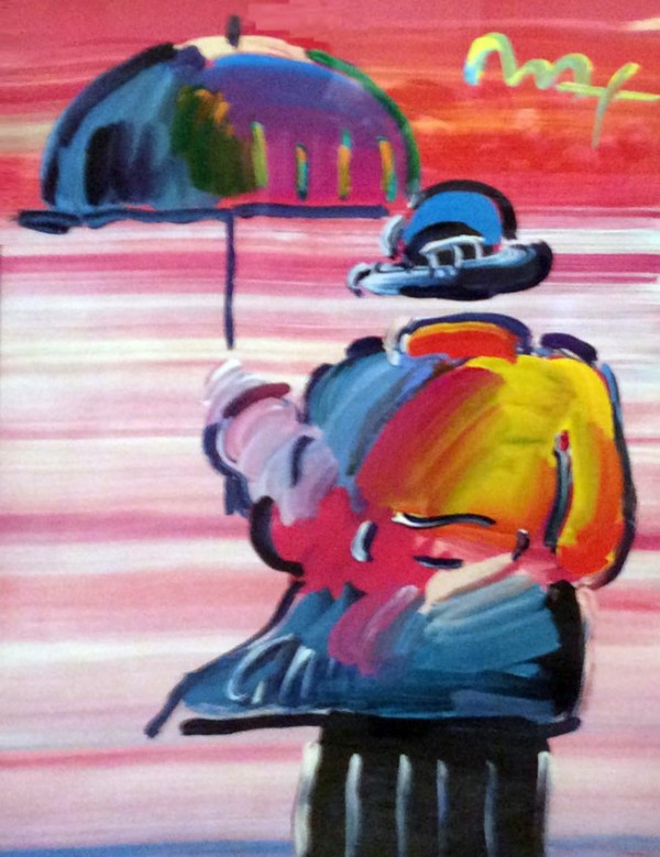 """""""Umbrella Man '99"""" Unique Mixed Media acrylic on Lithograph by Peter Max"""