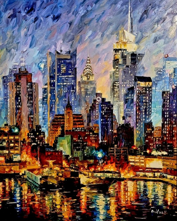 """Magnificent Manhattan"" Original Oil on Canvas by Daniel Wall"