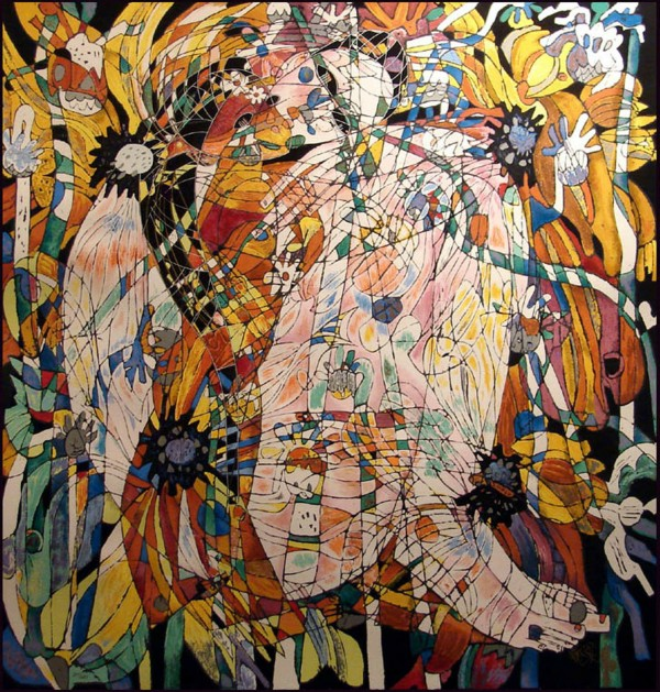 """""""Blossoming Flowers"""" Serigraph on Deckled Edge Paper by Jiang Tie Feng"""