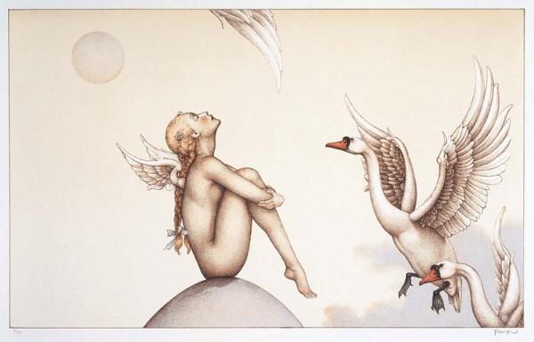 """Summer Breeze"" Stone Lithograph by Michael Parkes"