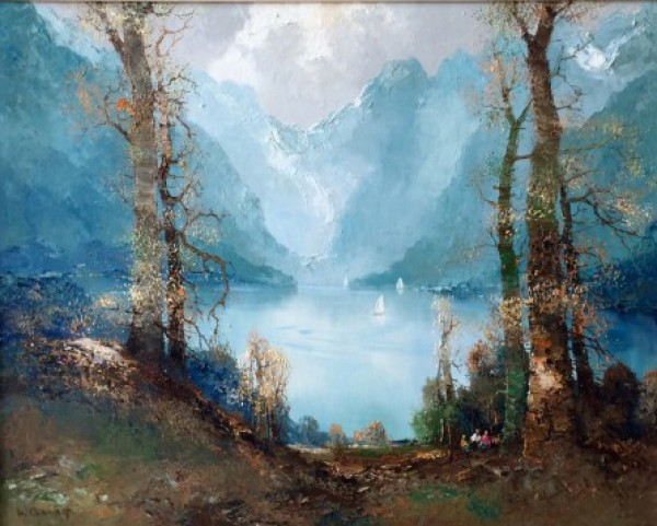 """Fjords"" Lake Scene Original Oil on Canvas by Willi Bauer"