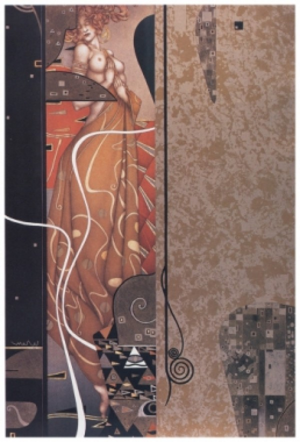 """""""Wein"""" Hand-Pulled Stone Lithograph by Michael Parkes"""