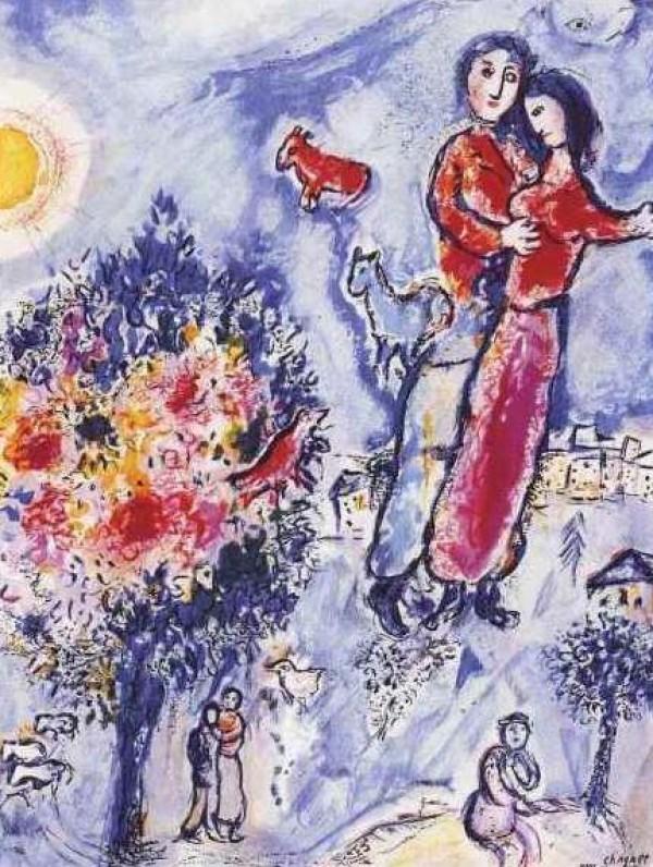 """""""Entre l'hiver et le Printemps"""", Estate-Signed Lithograph by Marc Chagall"""