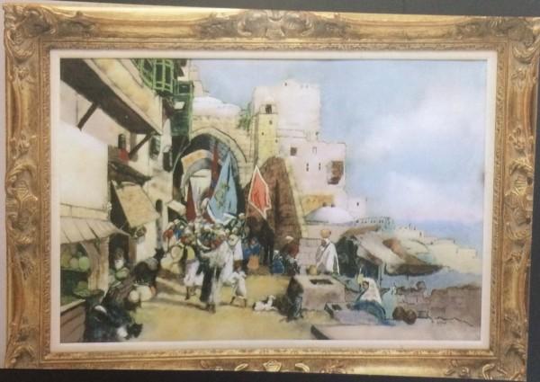 """Haifa Gates"" Original Enamel on Copper by Max Karp"