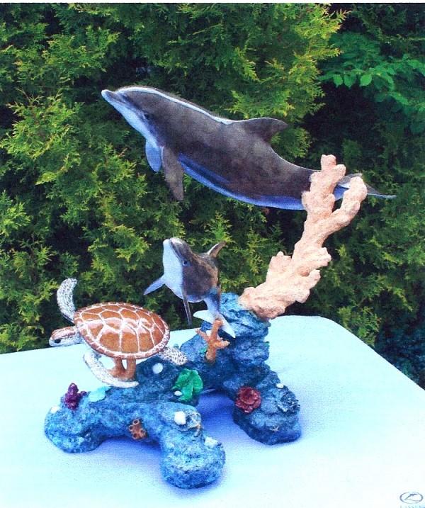 Dolphin Friends Bronze Sculpture by Christian Riece Lassen