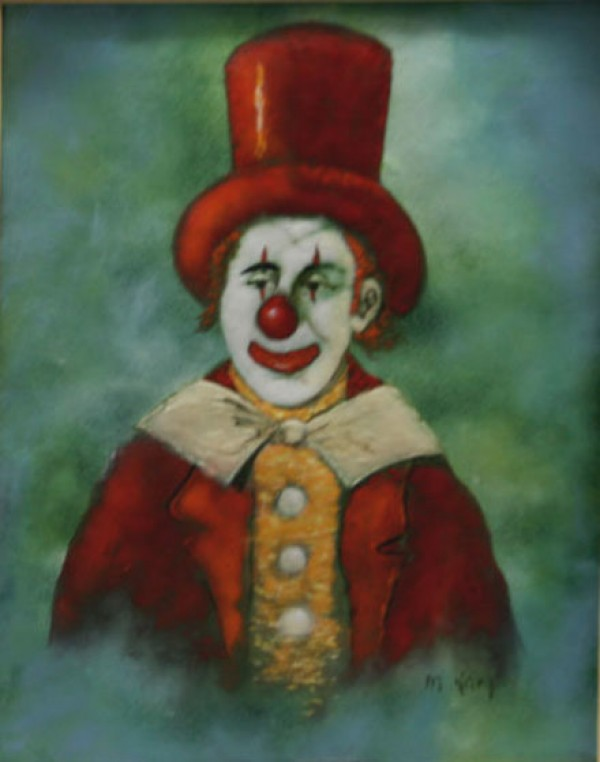 """Kimey"" Original Clown Enamel on Copper by Max Karp"