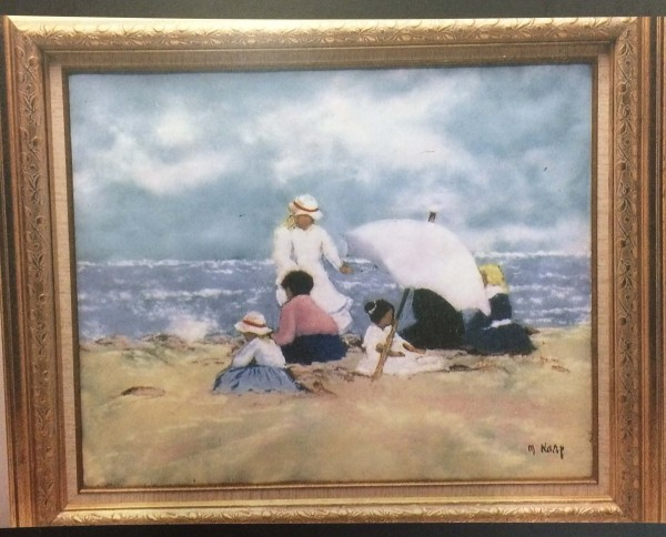 """""""Family at the Beach"""" Original Enamel on Copper by Max Karp"""