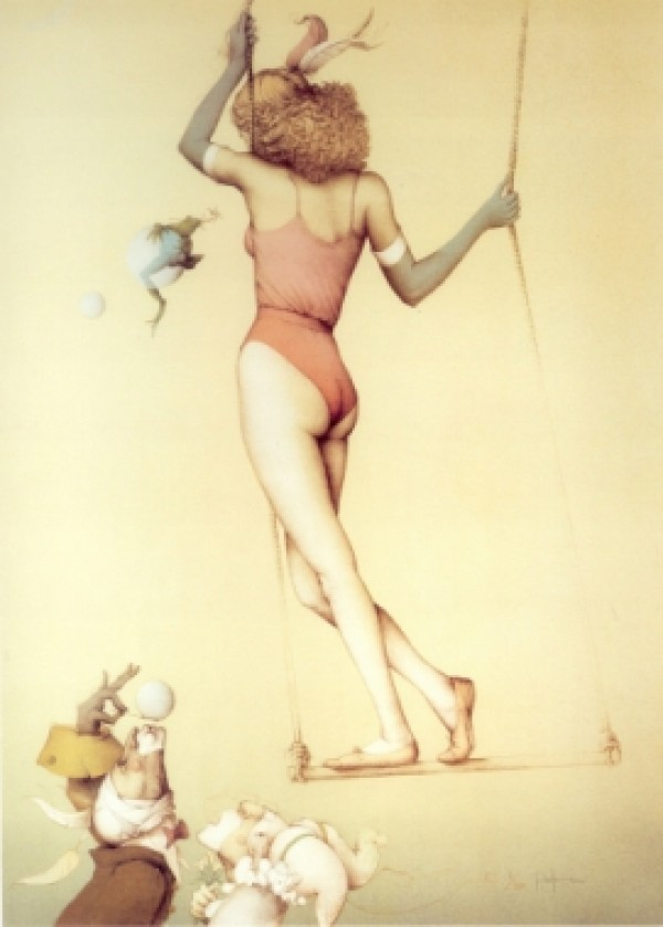 """That Daring Young Frog"" Hand Pulled Stone Lithograph by Michael Parkes"