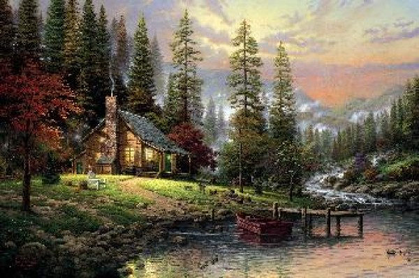 """Peaceful Retreat"" Giclee on Canvas by Thomas Kincade"