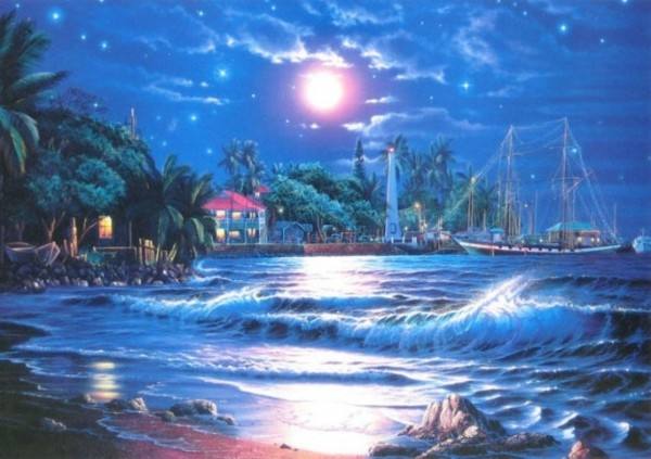 """Lahaina Starlight"" Framed Artagraph by Christian Riese Lassen"