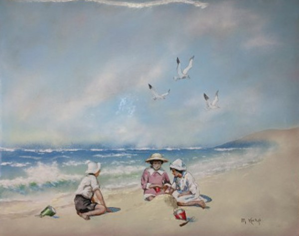 """Children at the Beach"" Enamel on Copper by Max Karp"