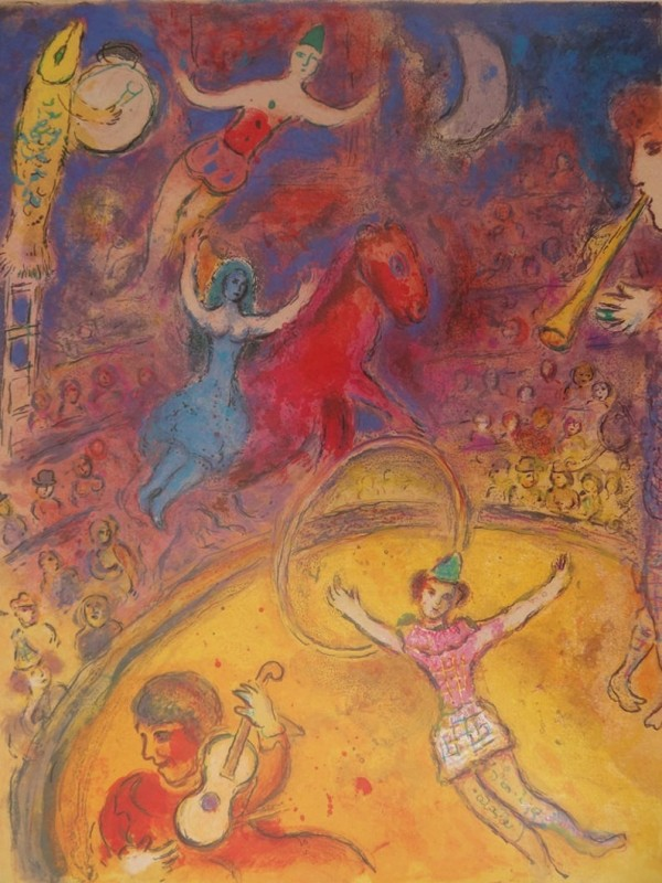 """Le Cirque"" Hand Signed,  Hand pulled color lithograph by Marc Chagall"