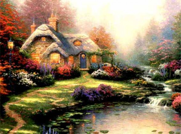 """Everett's Cottage"" Serigraph/Canvas by Thomas Kinkade"