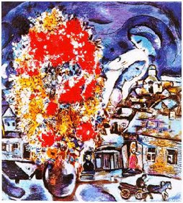 """""""Le Bouquet et Village Bleu"""" Plate-Signed Lithograph by Marc Chagall"""