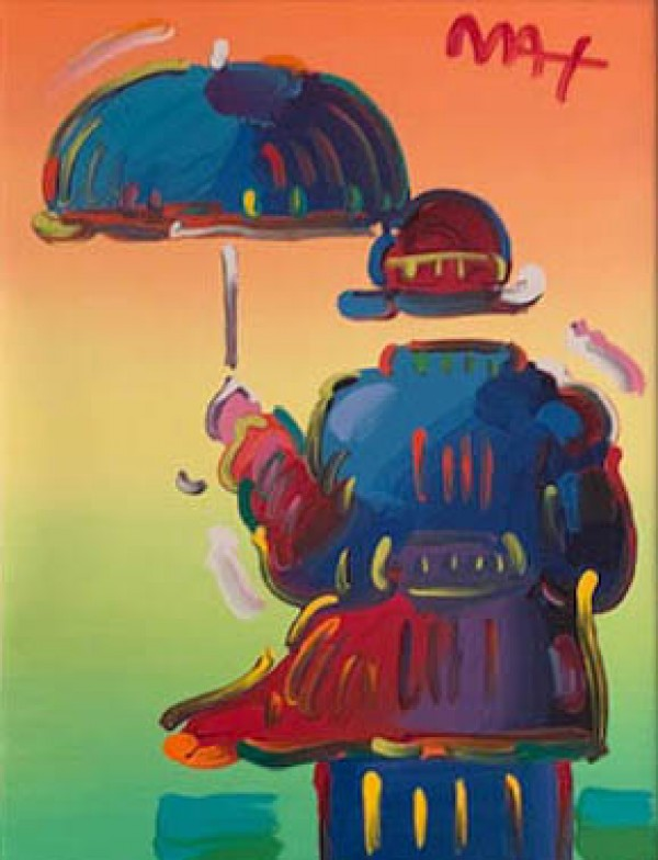 """""""Umbrella Man on Blend, Ver II. #122"""" Mixed Media on Canvas by Peter Max"""